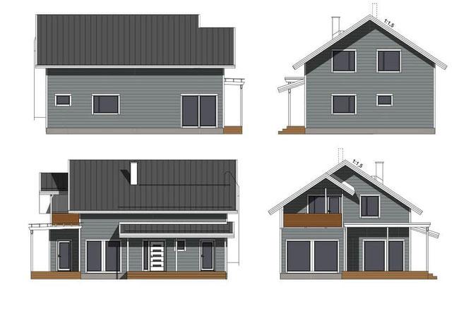 Holzhaus Entwurf in kompakter Form -  Ansichten des neuen Blockhauses in massiver Blockbauweise - Blockhausbau