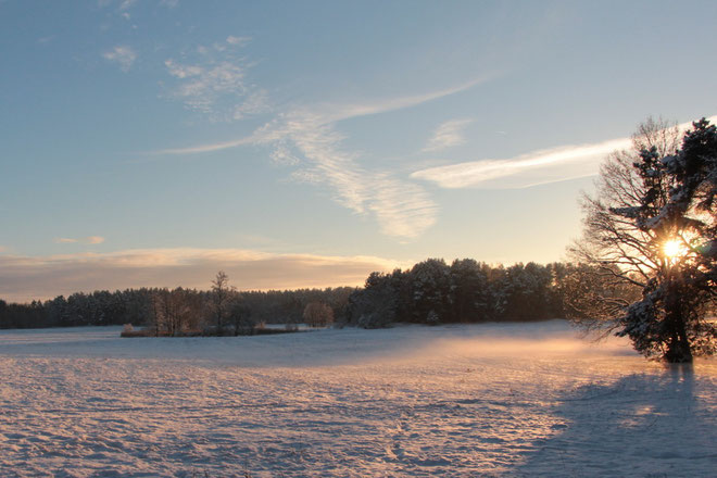 Sonne über dem Schnee