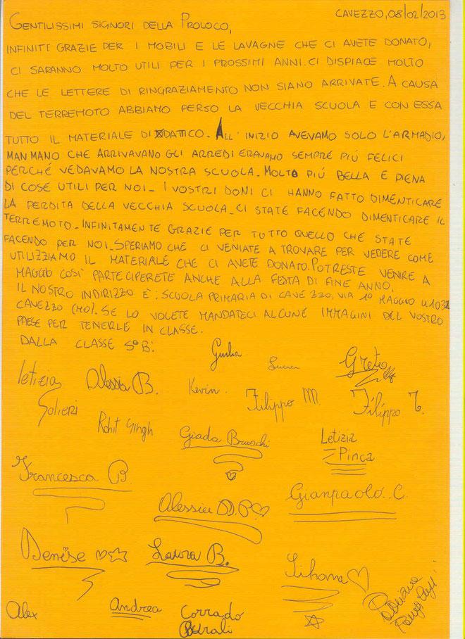 Lettera dei bambini di Cavezzo