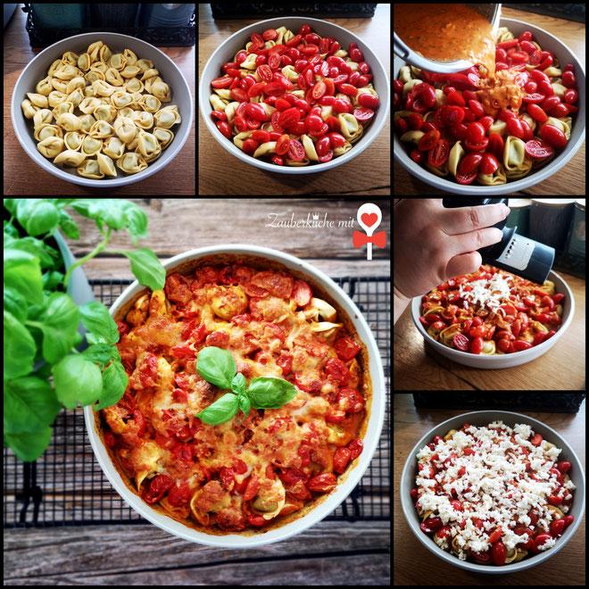 Ofenhexe von Pampered Chef®, Step by step, Auflauf mit Tortellini