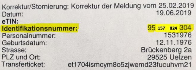 Wo und wie finde ich meine Steueridentifikationsnummer? Identifikationsnummer im Steuerbescheid, steuerliche Identifkationsnummer suchen, Steuer-ID Mitteilung, Beispiel Steueridentifikationsnummer