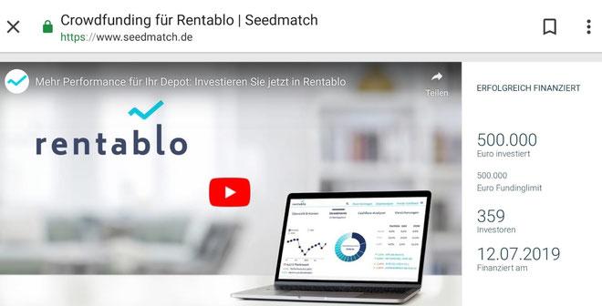 freaky finance, Rentablo, Crowdfundingkampagne, Projekt voll finanziert