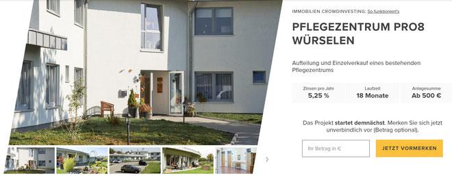 freaky finance, Zinsbaustein, Immobilien-Crowdinvesting, Pflegezentrum Pro8 Würselen