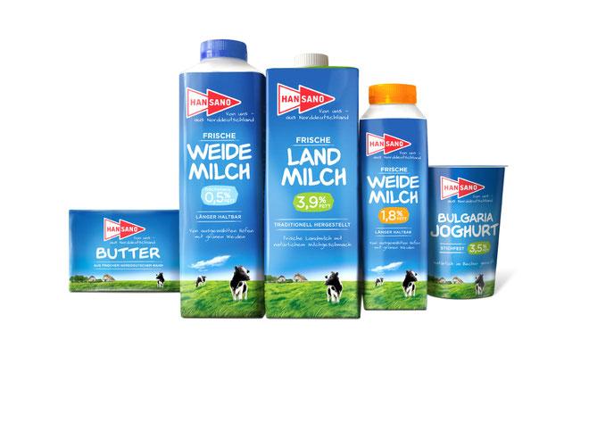 HANSANO - Milch - Weidemilch - Landmilch - Butter - Jogurt - Relaunch - Regional - Norddeutschland - Packaging - Design - DesignKis - 2014 - Verpackung