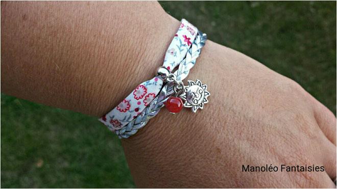 Bracelet mini manchette SOLEIL liberty rouge, gris et agenté