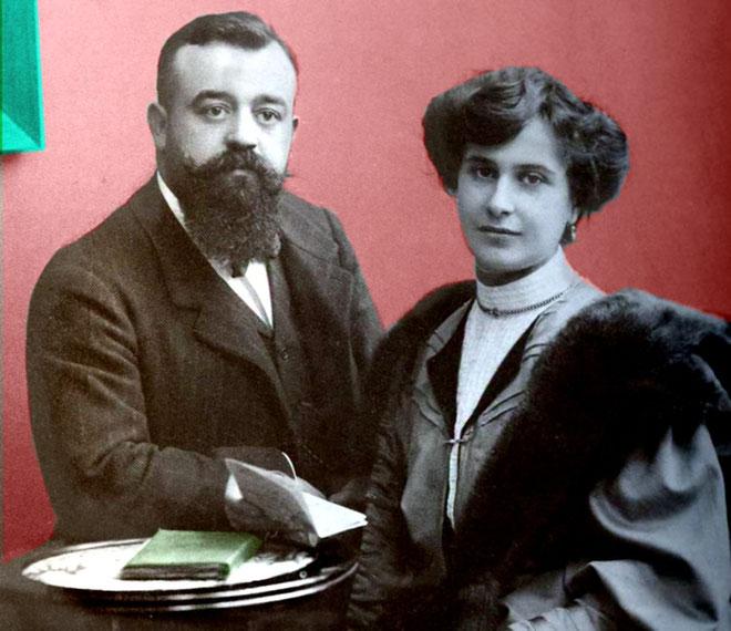 """Guido Moncher ed Elodie Mayr in una foto ritratto fatta nello """"Studio d'Arte Fotografica"""" Brunner a Trento in via Grazioli"""
