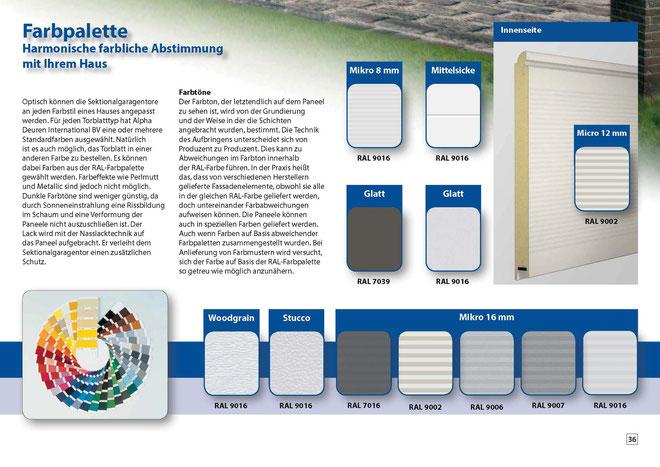 Oberflächen und Farben für Garagentore