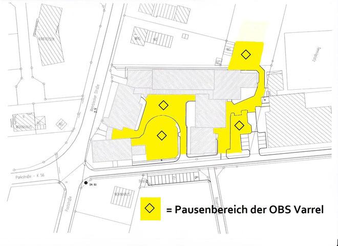 Pausenbereich der OBS Varrel (gelb gekennzeichnet)