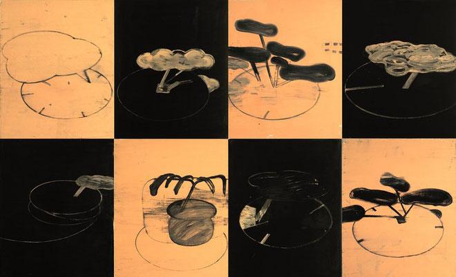 """Manga Garden I, I - 8"", 2003, Öl und Haushaltslack auf Karton, je 53 x 43 cm"