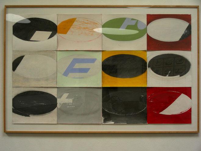 """Emblemewand I"", 2003, 122 x 203 cm, Öl, Acryl, Graphit auf Karton. gerahmt"