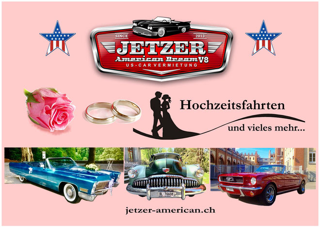 Ford Mustang fahren, US Car mieten, Chevrolet, Cadillac, Oldtimer mieten, Hochzeit, Muscle Car mieten, Schweiz