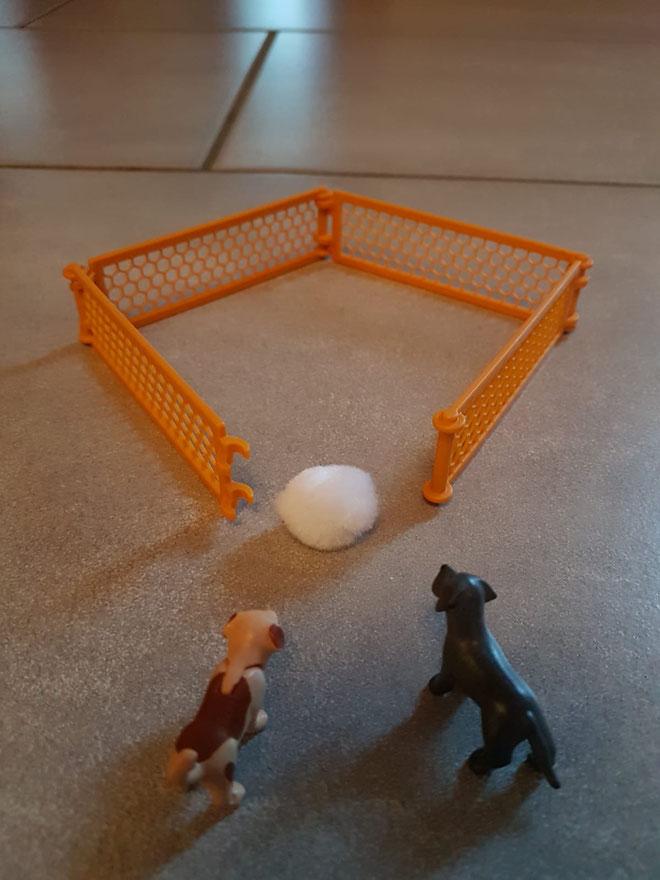 Die Hunde jagen das Virus ins Netz.                                                                                   Jella, Kl. 4
