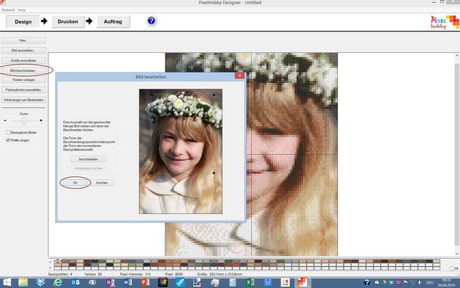 """Unter """"Bild beschneiden"""" kann überflüssiger Randbereich des Bilds entfernt werden. Weitere Optionen zur Bildbearbeitung für fortgeschrittene Benutzer unter """"Farben zufügen"""", """"Farboptionen auswählen"""" und """"Werkzeuge zum Bearbeiten""""."""