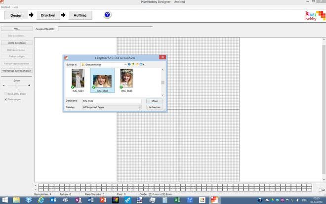 Nun können Sie das gewünschte Bild auswählen und in den Designer importieren.