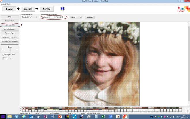 """Standardmässig wird das Bild zunächst auf 2 x 2 Grundplatten aufgeteilt. Bei """"Basisplatten-Arrangement"""" können Sie nun auswählen, auf wieviel Platten das Bild verteilt werden soll."""