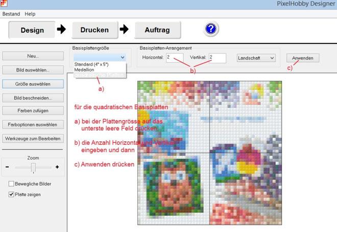 Bei der Basisplattengrösse können Sie die Auswahl der Basisplatten wählen. Das unterste (in der deutschen Sprache noch leer) finden Sie die quadratischen Formate.