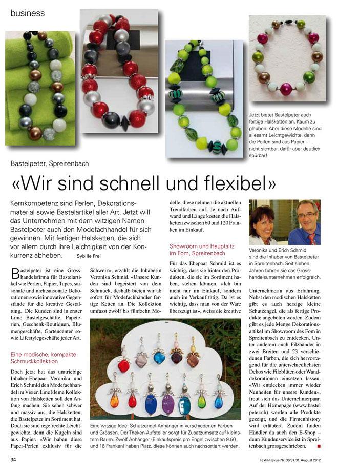 Berichterstattung in der Textil-Revue vom 31. august 2012