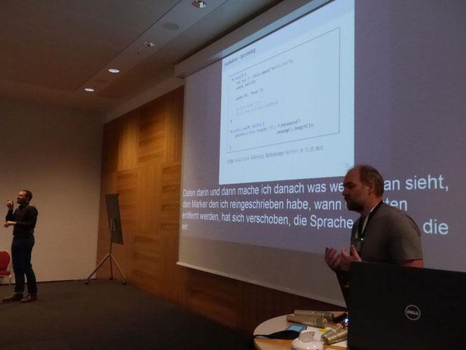 DeafIT Konferenz 2018: Florian Gilcher (Rechts im Bild)
