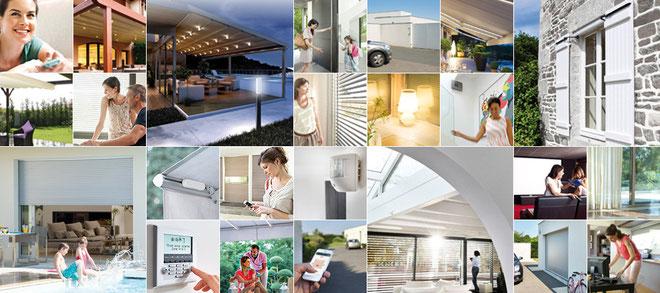 Mit dem io-homecontrol® Funksteuerungssystem von Somfy lassen sich nicht nur Rollladen, Markise, Sonnenschutz und Garagentore steuern, sondern auch Haustür, Fenster, Dachfenster und Beleuchtung etc.
