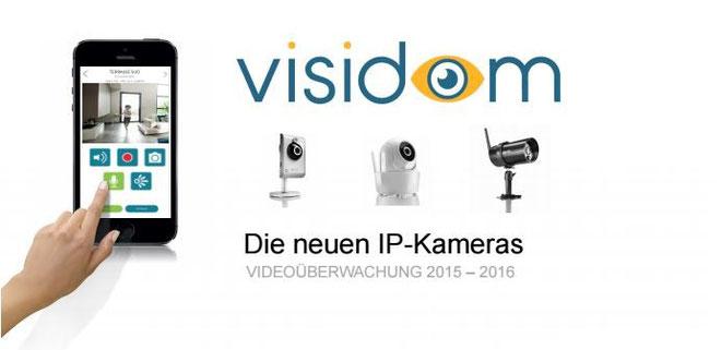 Neu im Shop: Somfy Visidom IP-Kameras/WiFi-Kameras: Visidom IP-Kamera Innen IC 100, Visidom IP-Kamera Innen Dreh- und Schwenkbar ICM 100, Visidom IP/WiFi-Kamera Außenkamera OC 100