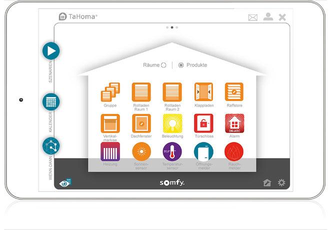 Intuitiv bedienen und steuern Sie auf der grafischen Oberfläche der TaHoma Software Ihre gesamte Haustechnik und sind auf einen Blick über den aktuellen Zustand informiert.