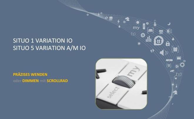 Somfy io-Handsender mit Scrollrad Serie 2016 - Situo 1 Variation io, 1-Kanal - Situo 5 Variation io, 5-Kanal - Situo 1 Variation A/M io, 1-Kanal - Situo 5 Variation A/M io, 5-Kanal