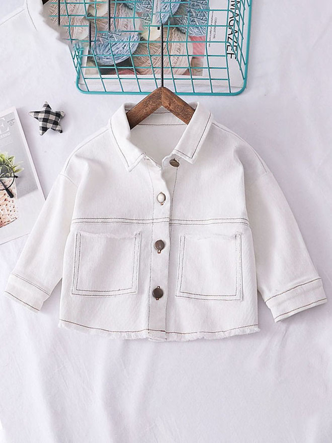 kiskissing wholesale toddler girl pocket front white shirt