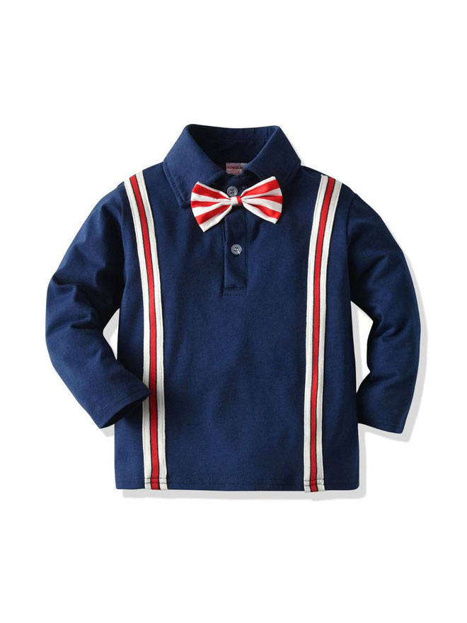 kiskissing wholesale kid boy stripe bowtie shirt