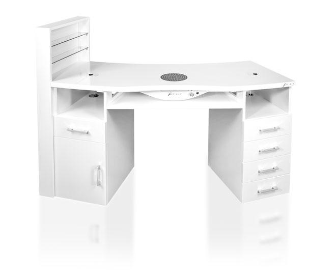 Nageltisch - Einzeltisch mit zwei Schränken + Regal weiß
