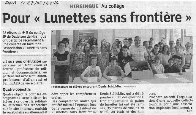 Lunettes sans Frontière au collège de Hirsingue
