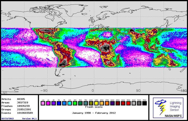 Datos de actividad de rayos en el mundo entero