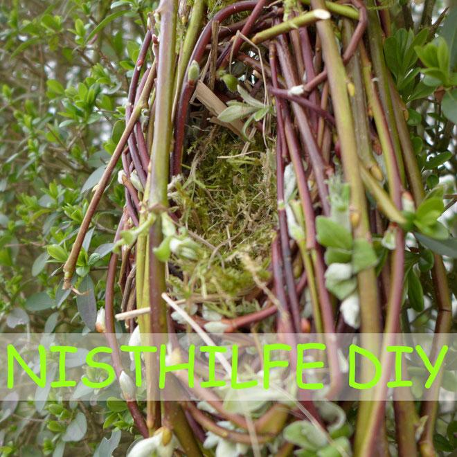 Garten - Nisthilfe oder Vogelnest aus Weide bauen - DIY-Projekt