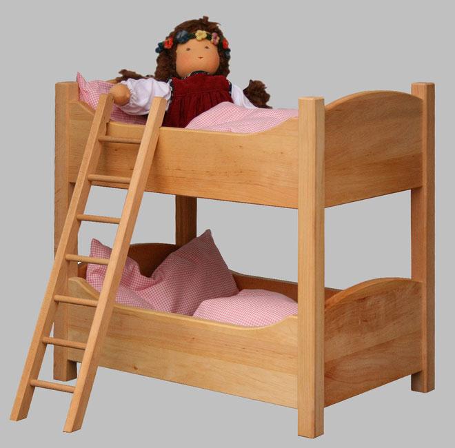 Puppenstockbett aus Erlenholz von Schöllner