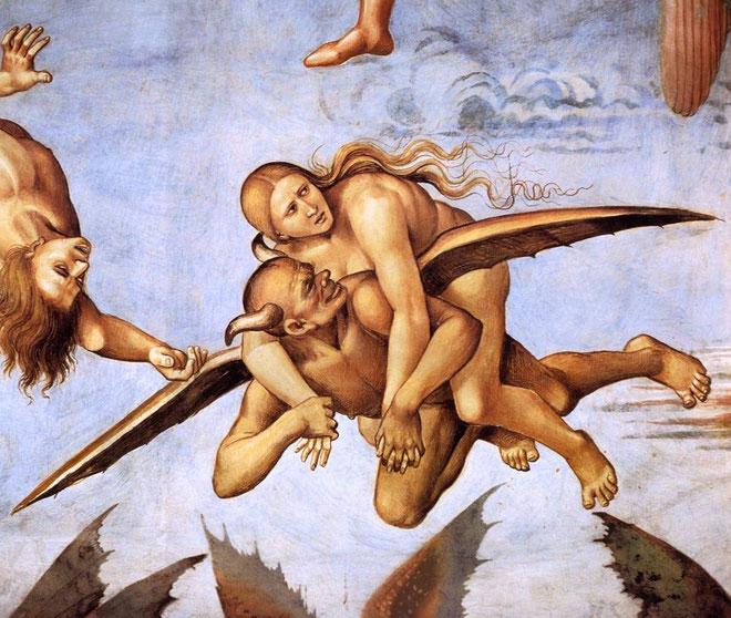 """Luca Signorelli, """"Dannati all'Inferno"""", particolare, circa 1499 (Duomo di Orvieto, Cappella di S. Brizio)"""