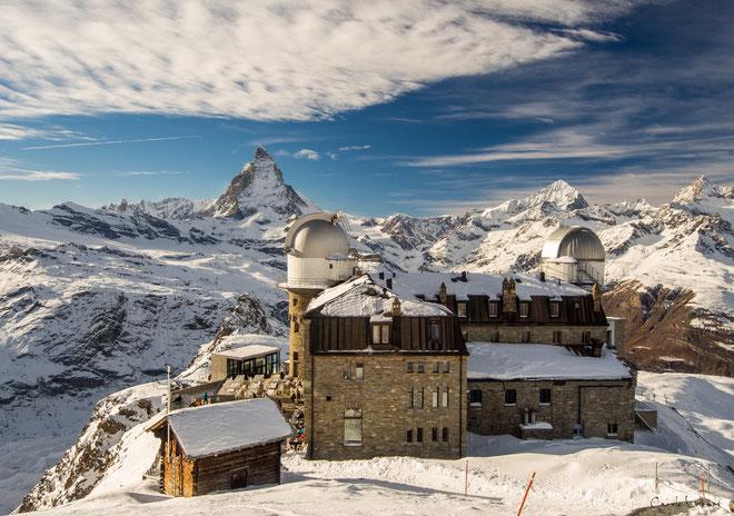 am Nachmittag bereits wunderbare Sicht auf das Matterhorn - im Vordergrund das Kulmhotel Gornergrat