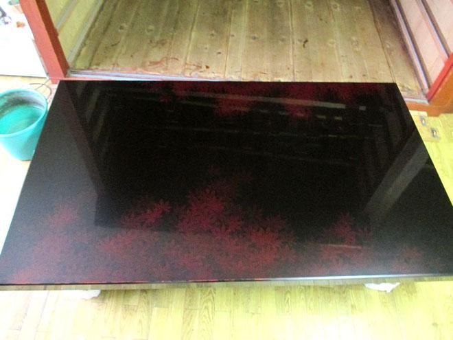 座卓の漆器修理完了