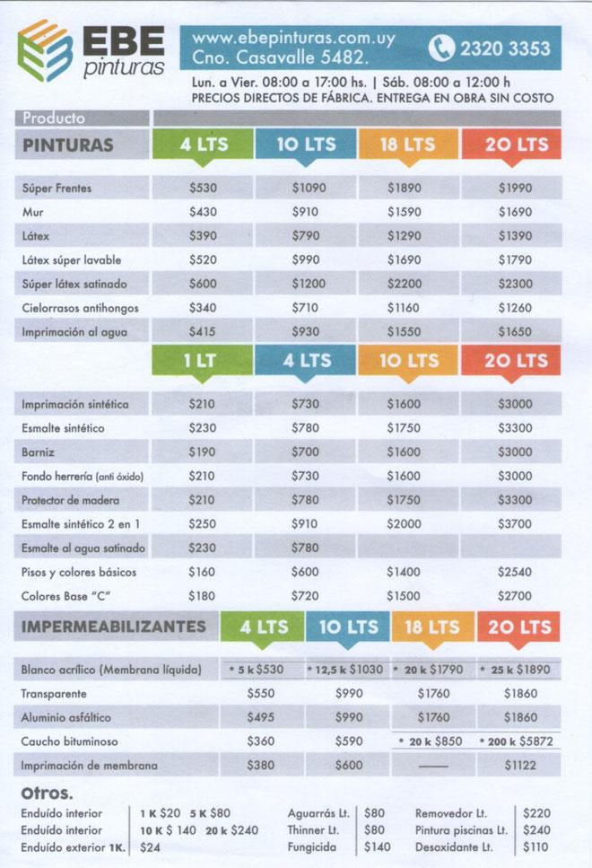 EBE Pinturas - Lista de precios