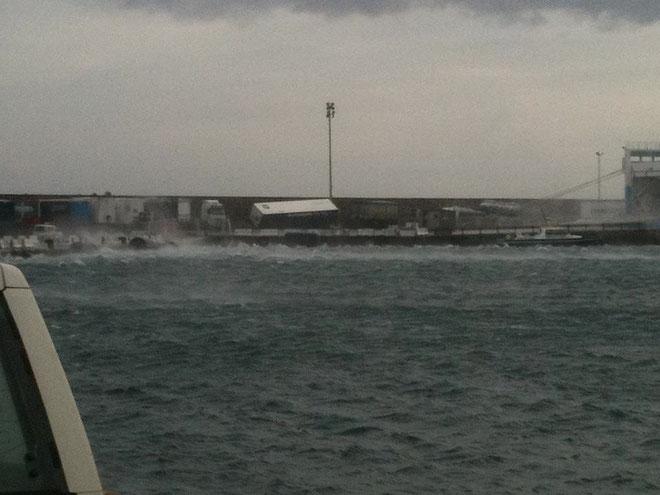Remorque renversée sur le port de Bastia (Photo Florent Croce)