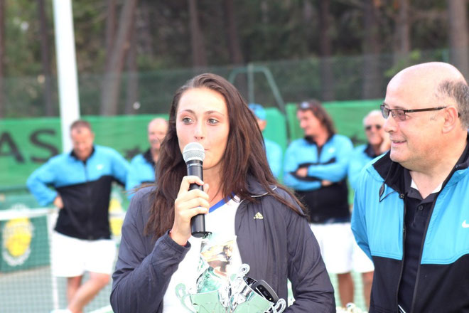 Clothilde de Bernardi en compagnie de Bernard Giudicelli, président de la ligue corse de tennis