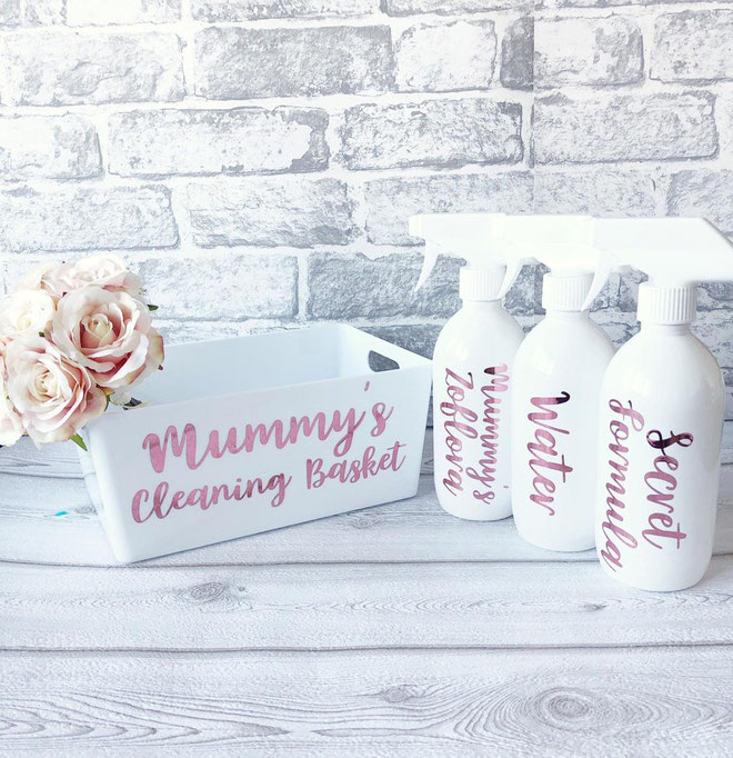 Personalized Cleaning Caddy and Spray Bottles
