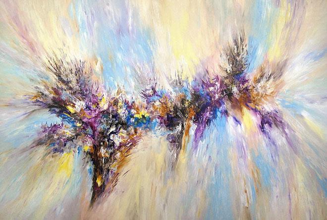 Riesiges Acrylbild auf Leinwand. Abstrakte, moderne Malerei.