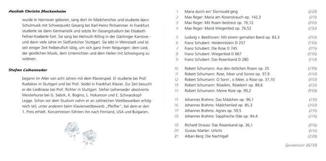 CD - Laß mein Herz in Deiner Liebe blühen wie die Rose - Aeoliah Christa Muckenheim Sopran und Stefan Leihenseder Piano - Verlag Heilbronn