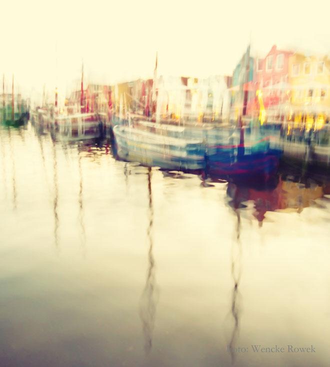 Fotomalerei mit Wischtechnik vom Husumer Hafen