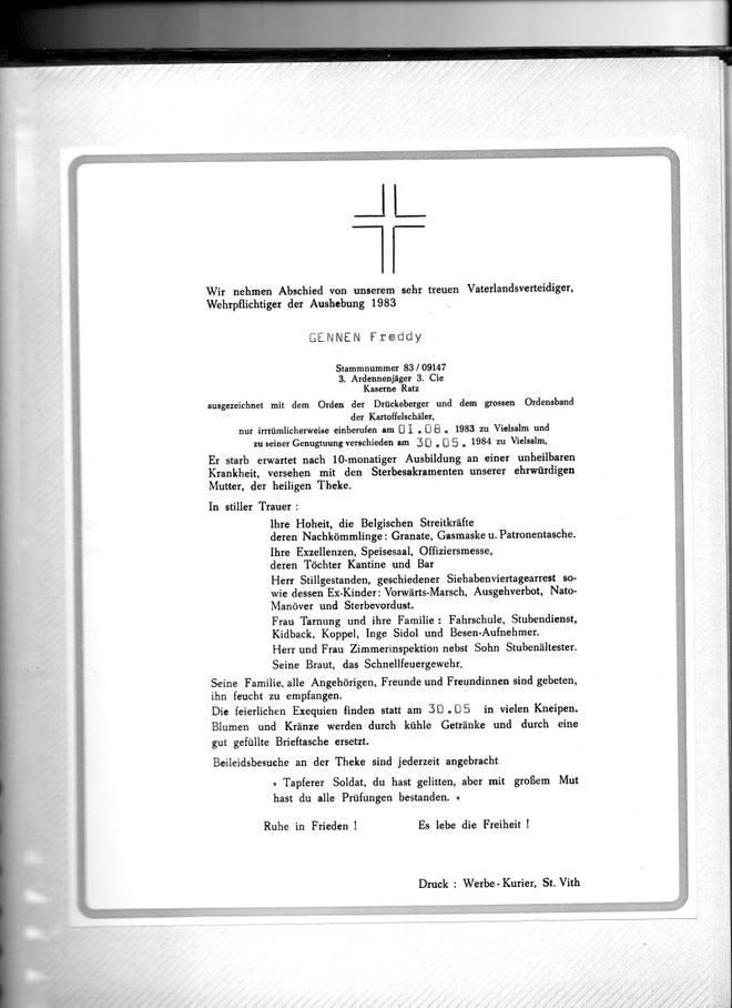 Totenzettel von Gennen Freddy, diese wurden zum Abschied von der Dienstzeit verteilt