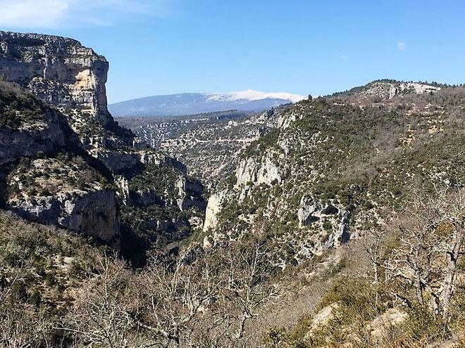 Les gorges de la Nesque, le rocher du Cire à gauche et au loin le Ventoux