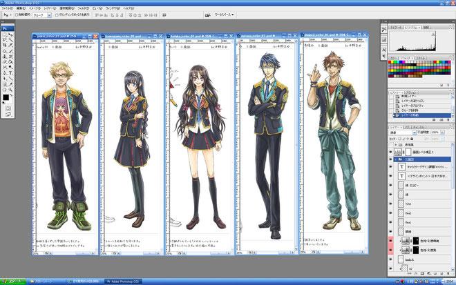 正面図 全身 近来感と京都っぽい制服(襟に西陣織を使用)にデザインしました。