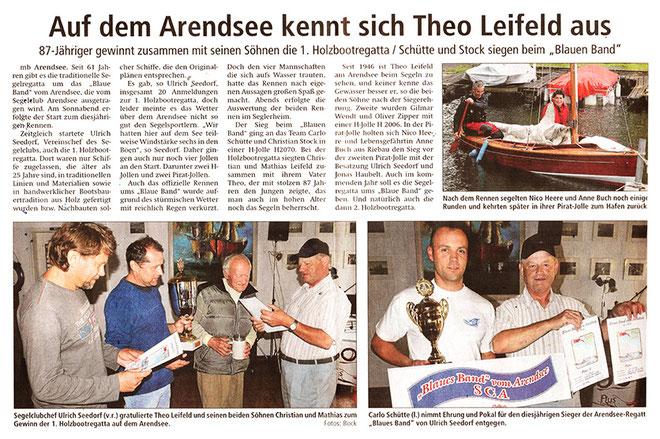 Bericht der Altmarkzeitung über die 1. Holzbootregatta und das Blaue Band 2016