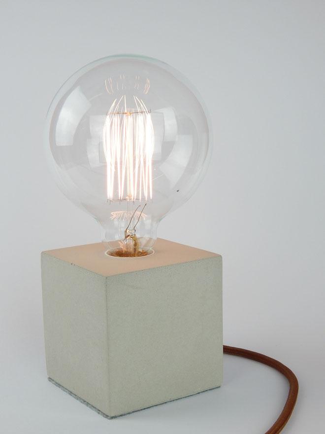 """Cube Betonlampe mit Textilkabel """"Braun"""""""