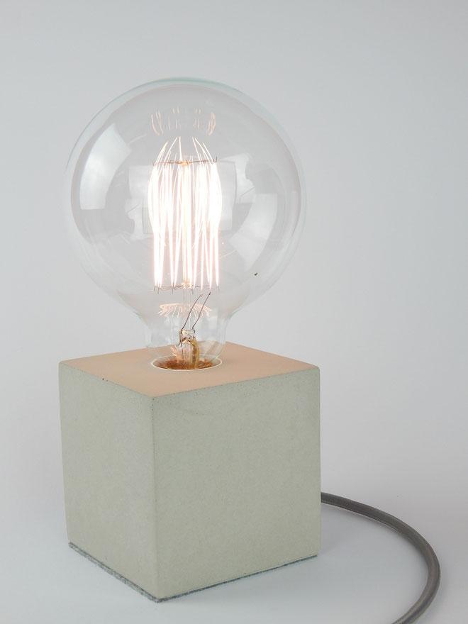 """Cube Betonlampe mit Textilkabel """"Grau"""""""