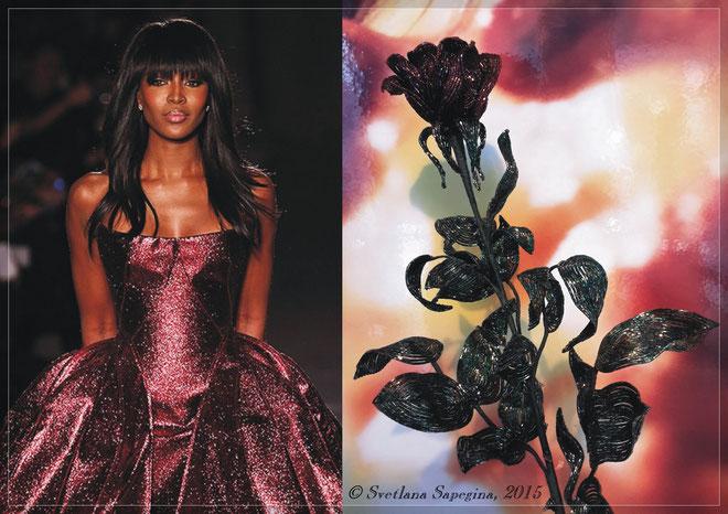 Роза из бисера, закрытая роза из бисера, бокаловидная роза из бисера